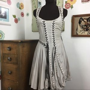 AllSaints Aemilla Dress Lace Up Asymmetric Corset